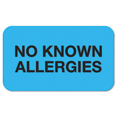 """No Known Allergies"" Medical Labels, 7/8 x 1-1/2, Light"